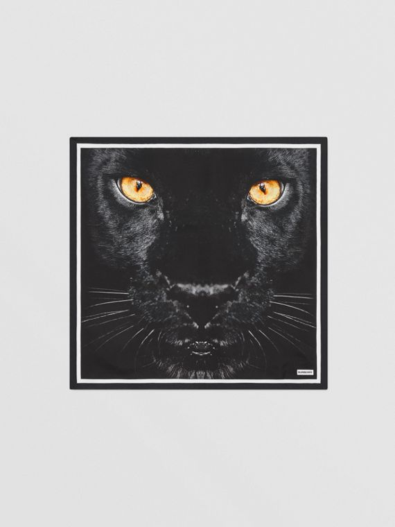 Panther Print Silk Small Square Scarf in Black