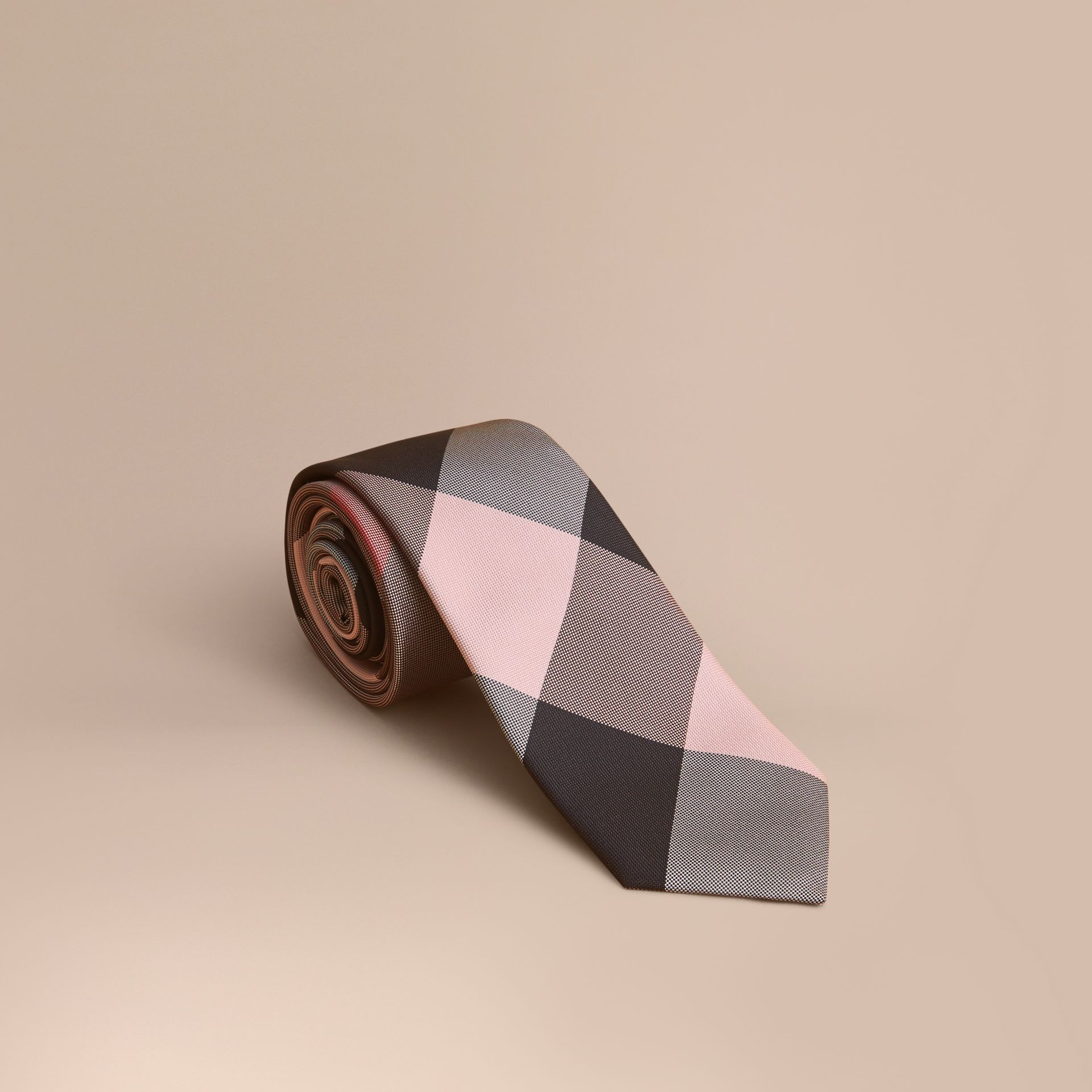 Modern Cut Check Silk Tie in Chalk Pink - gallery image 1