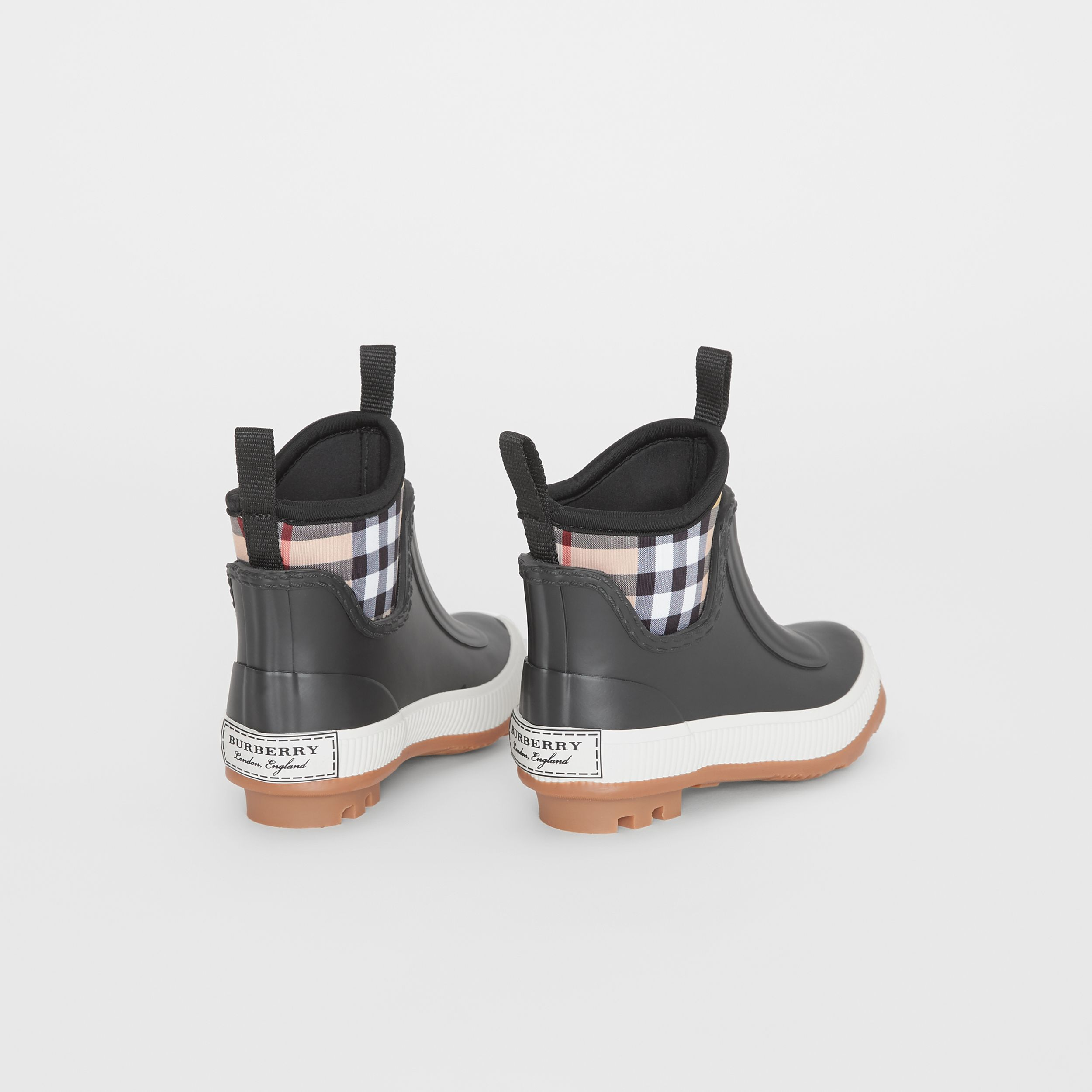 Vintage Check Neoprene and Rubber Rain Boots in Black - Children | Burberry United Kingdom - 3