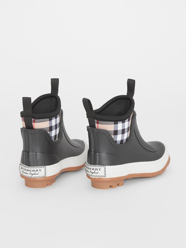 Vintage Check Neoprene and Rubber Rain Boots in Black - Children | Burberry Australia - cell image 2