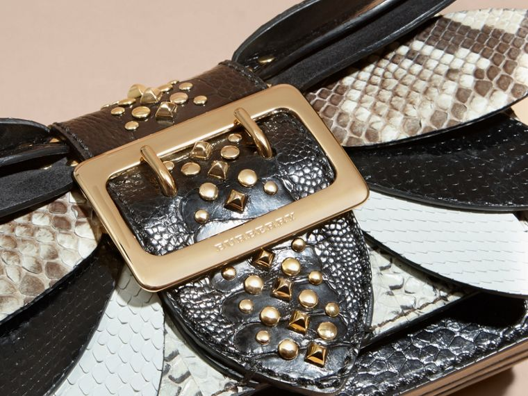 The Small Buckle Bag in Leather and Snakeskin Appliqué - cell image 1