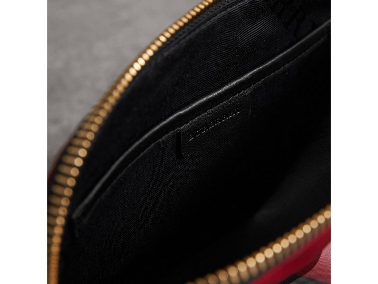Large Zip-top Check Pouch in Parade Red - Women | Burberry United Kingdom - cell image 4