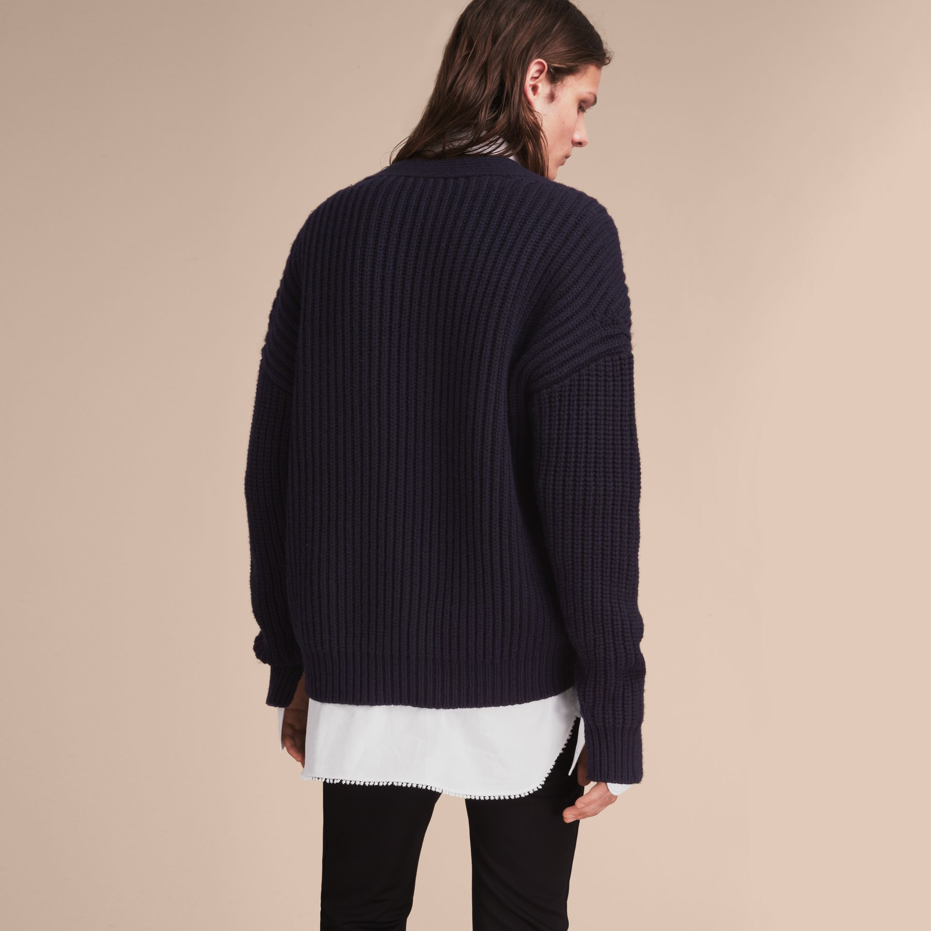 Two-tone Cashmere Cardigan with Ribbed Detail - gallery image 3