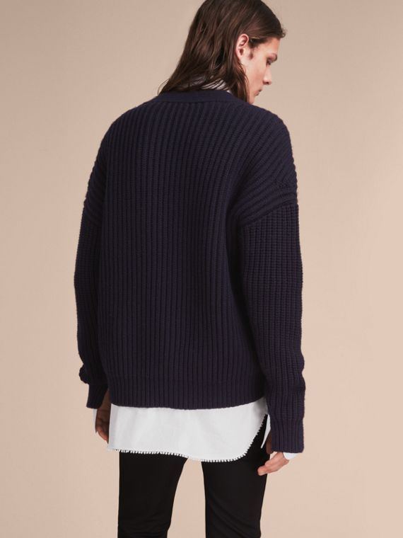 Two-tone Cashmere Cardigan with Ribbed Detail - cell image 2