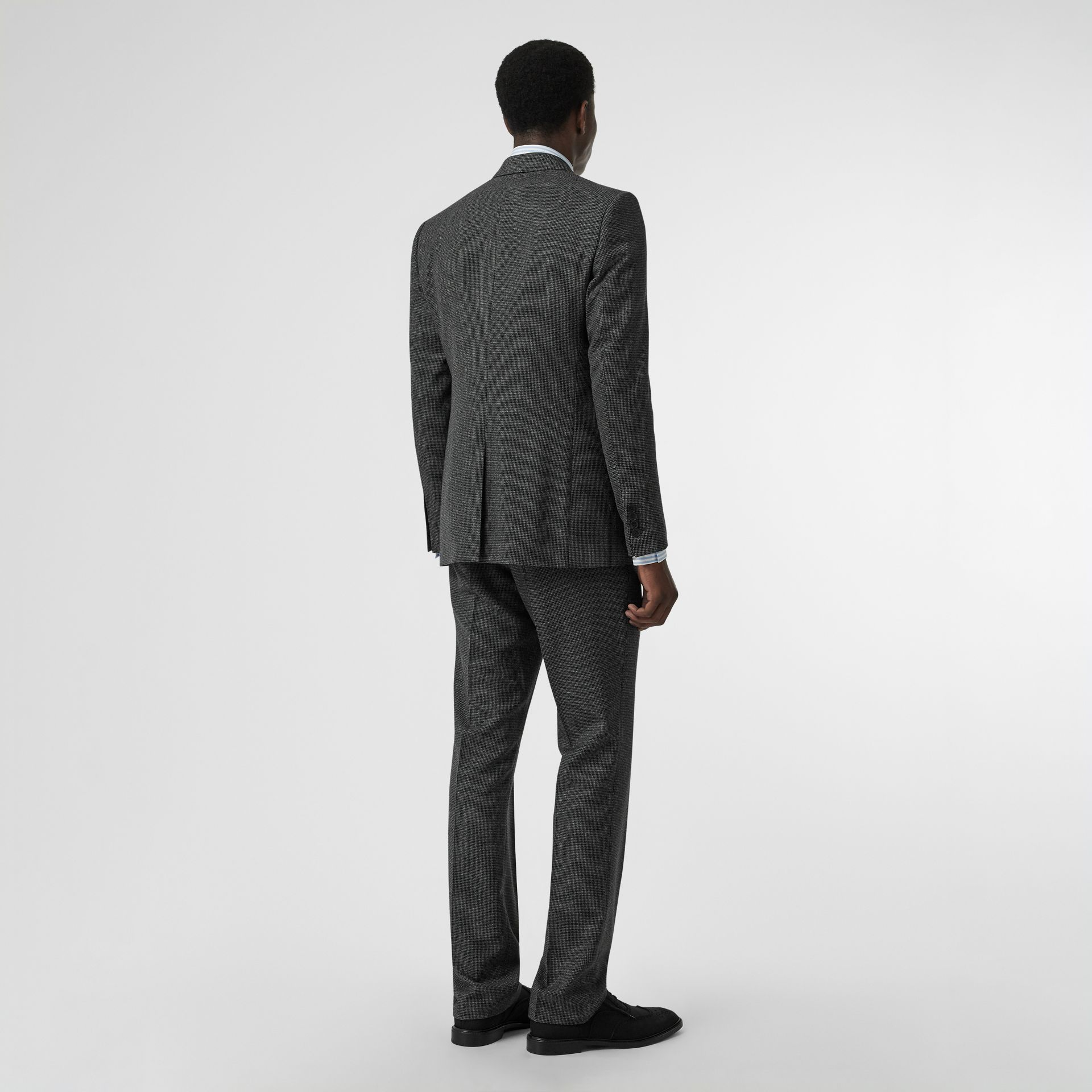 English Fit Puppytooth Check Wool Suit in Charcoal Melange - Men | Burberry - gallery image 1