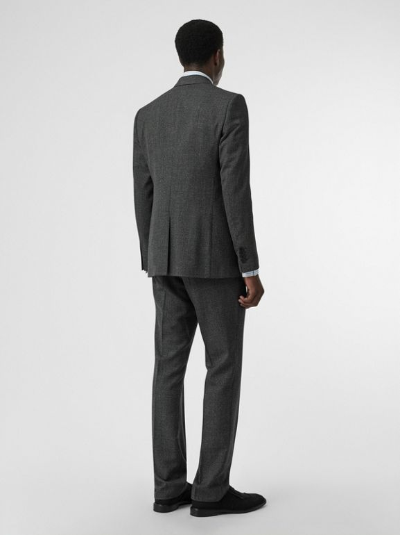 English Fit Puppytooth Check Wool Suit in Charcoal Melange - Men | Burberry - cell image 1