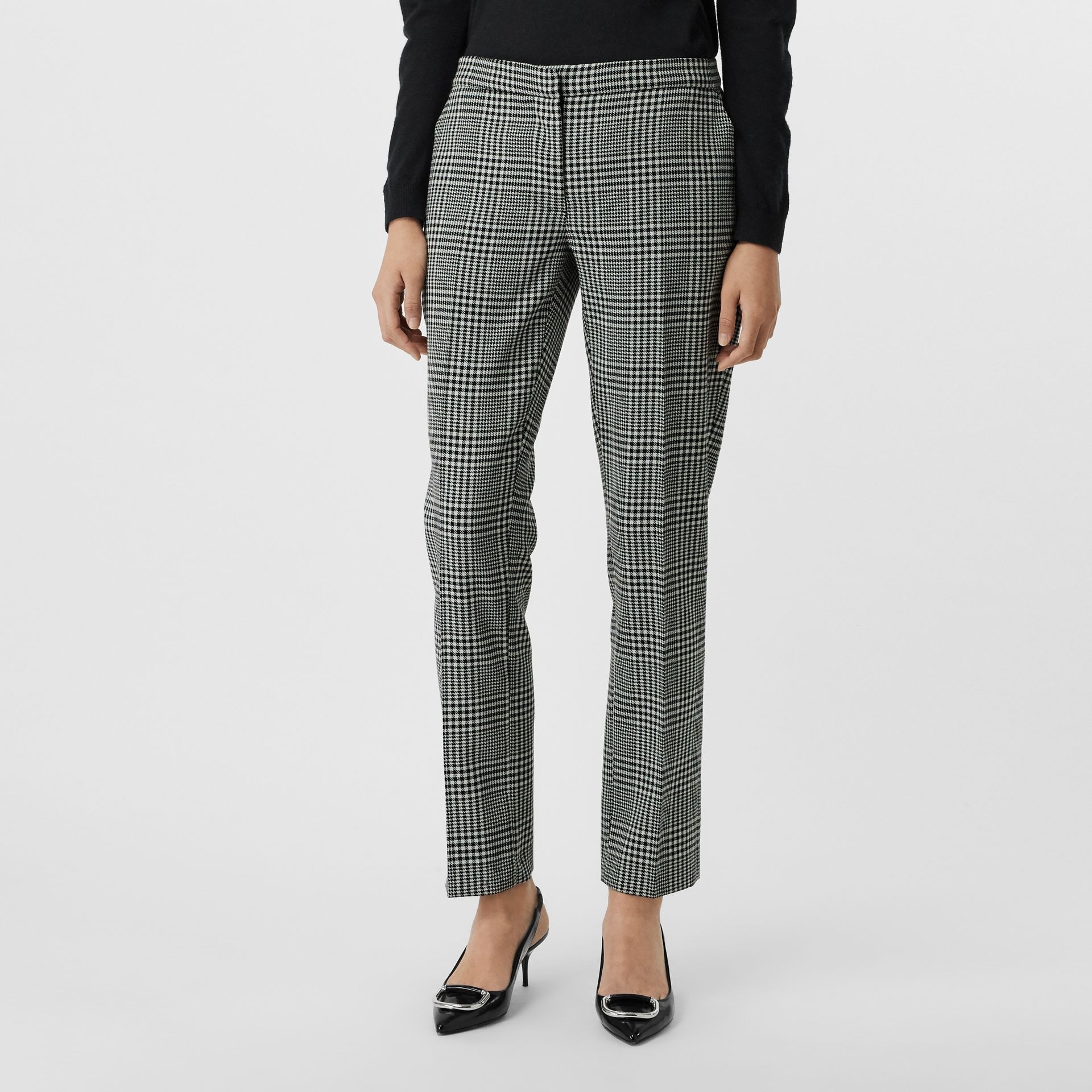 Straight Fit Prince of Wales Check Wool Trousers in Mist Green - Women | Burberry Australia - gallery image 0