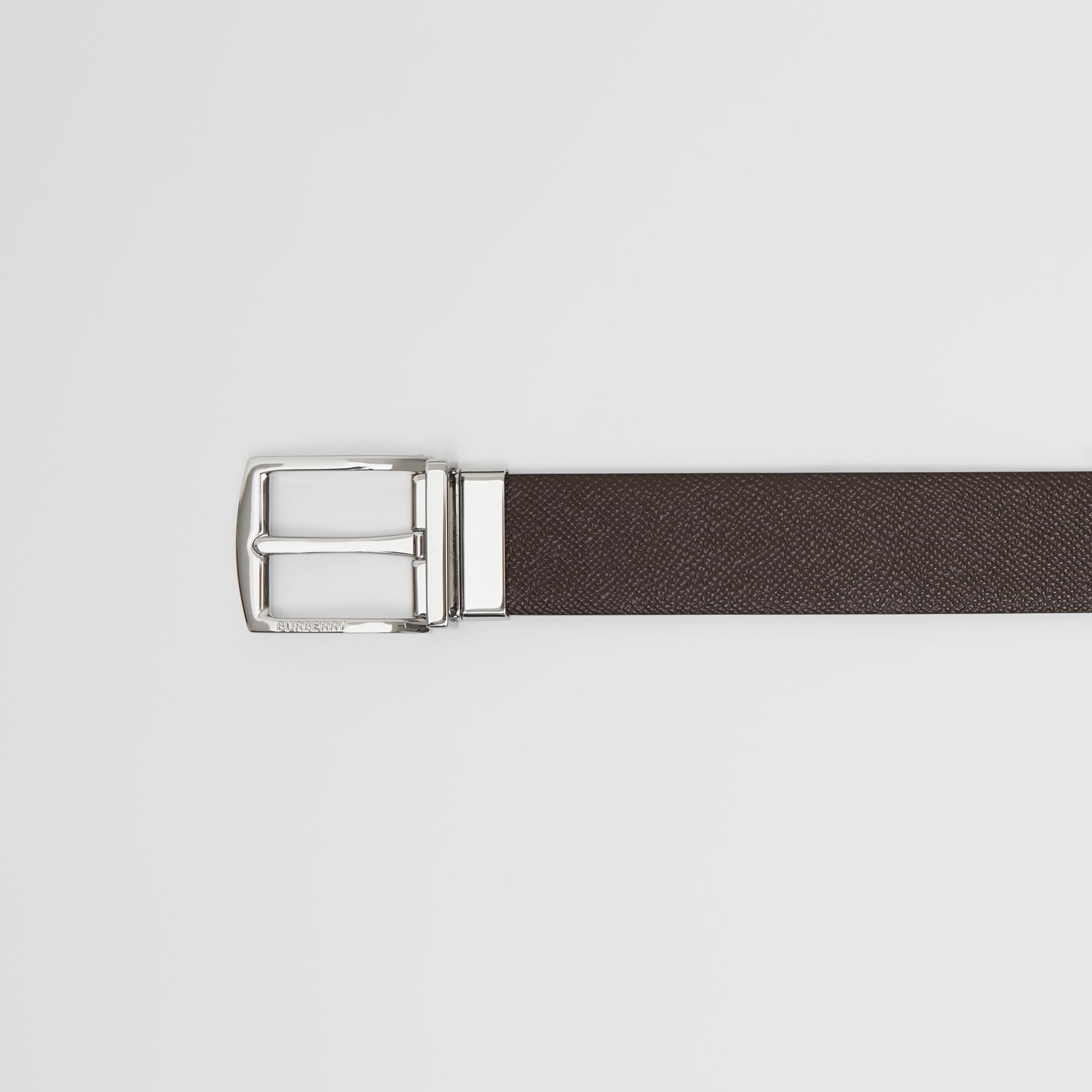 Reversible Grainy Leather Belt in Chocolate/black - Men | Burberry Singapore - gallery image 1