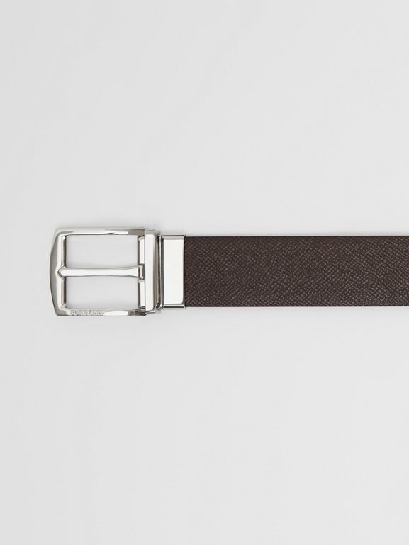 Reversible Grainy Leather Belt in Chocolate/black - Men | Burberry United Kingdom - cell image 1