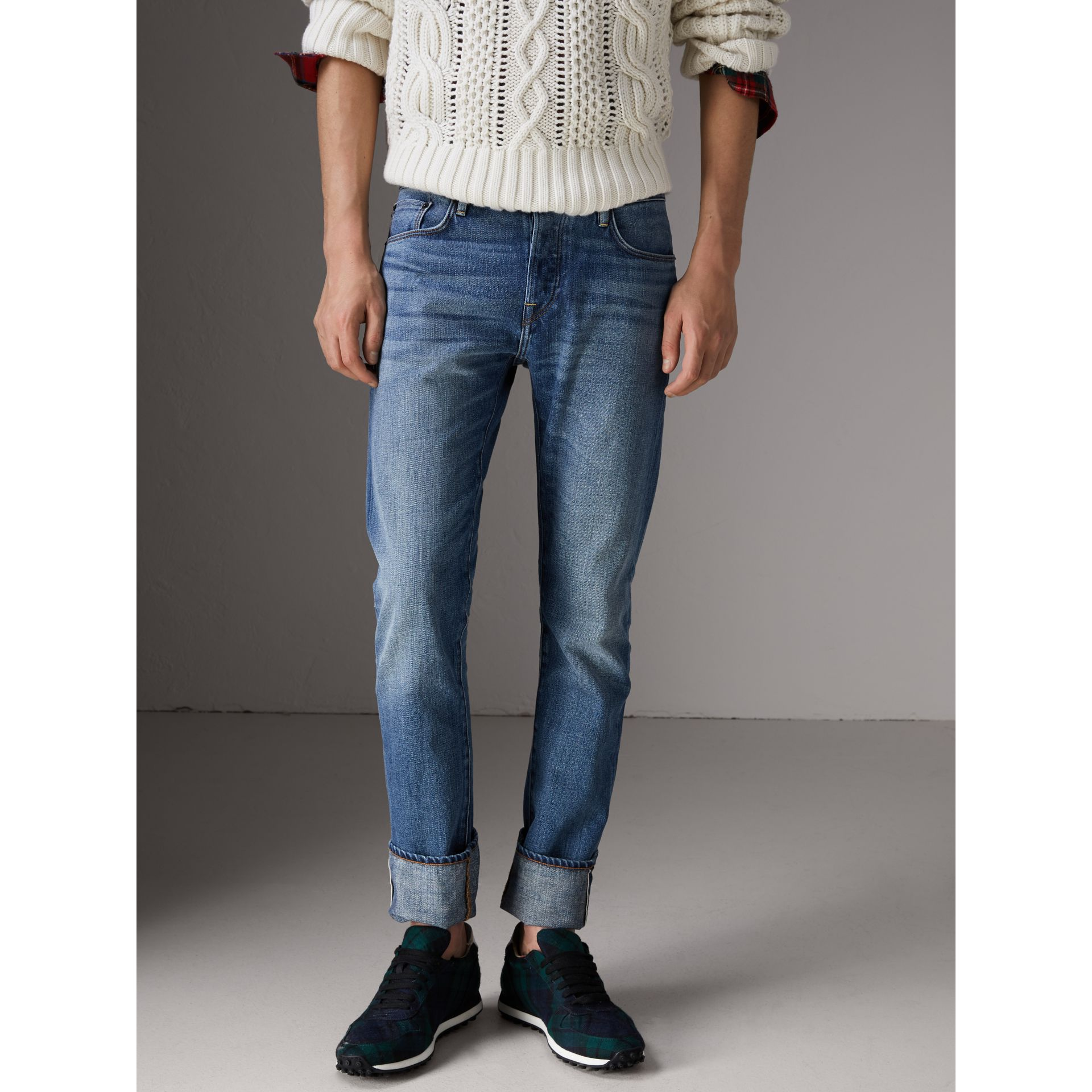 Straight Fit Washed Japanese Selvedge Denim Jeans in Light Indigo - Men | Burberry - gallery image 6
