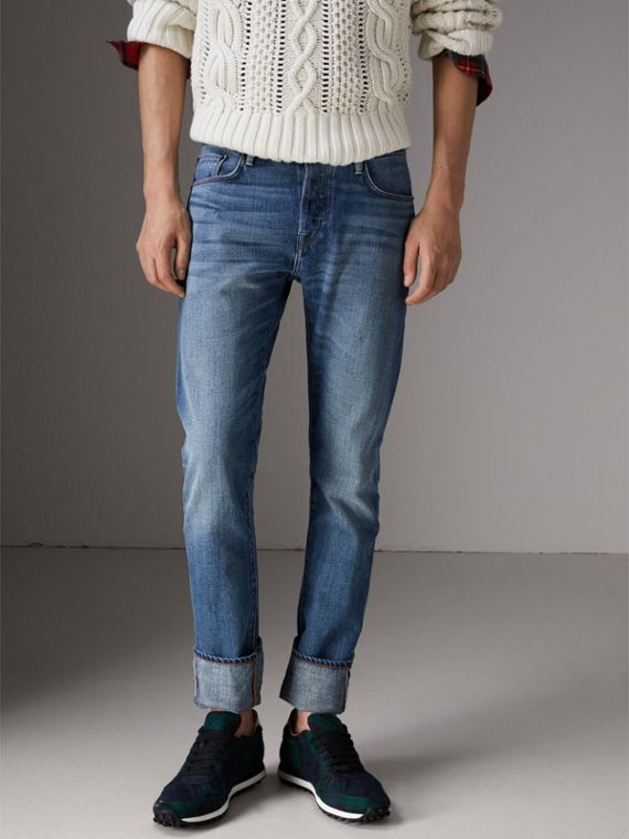 Straight Fit Washed Japanese Selvedge Denim Jeans in Light Indigo