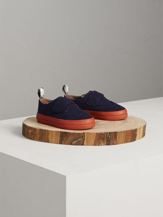 Two-tone Brogue Detail Suede Trainers in Blue Carbon