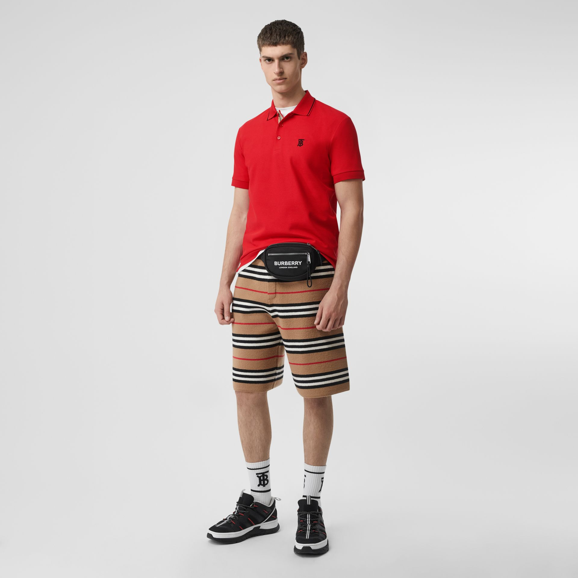 Icon Stripe Placket Cotton Piqué Polo Shirt in Bright Red - Men | Burberry - gallery image 0