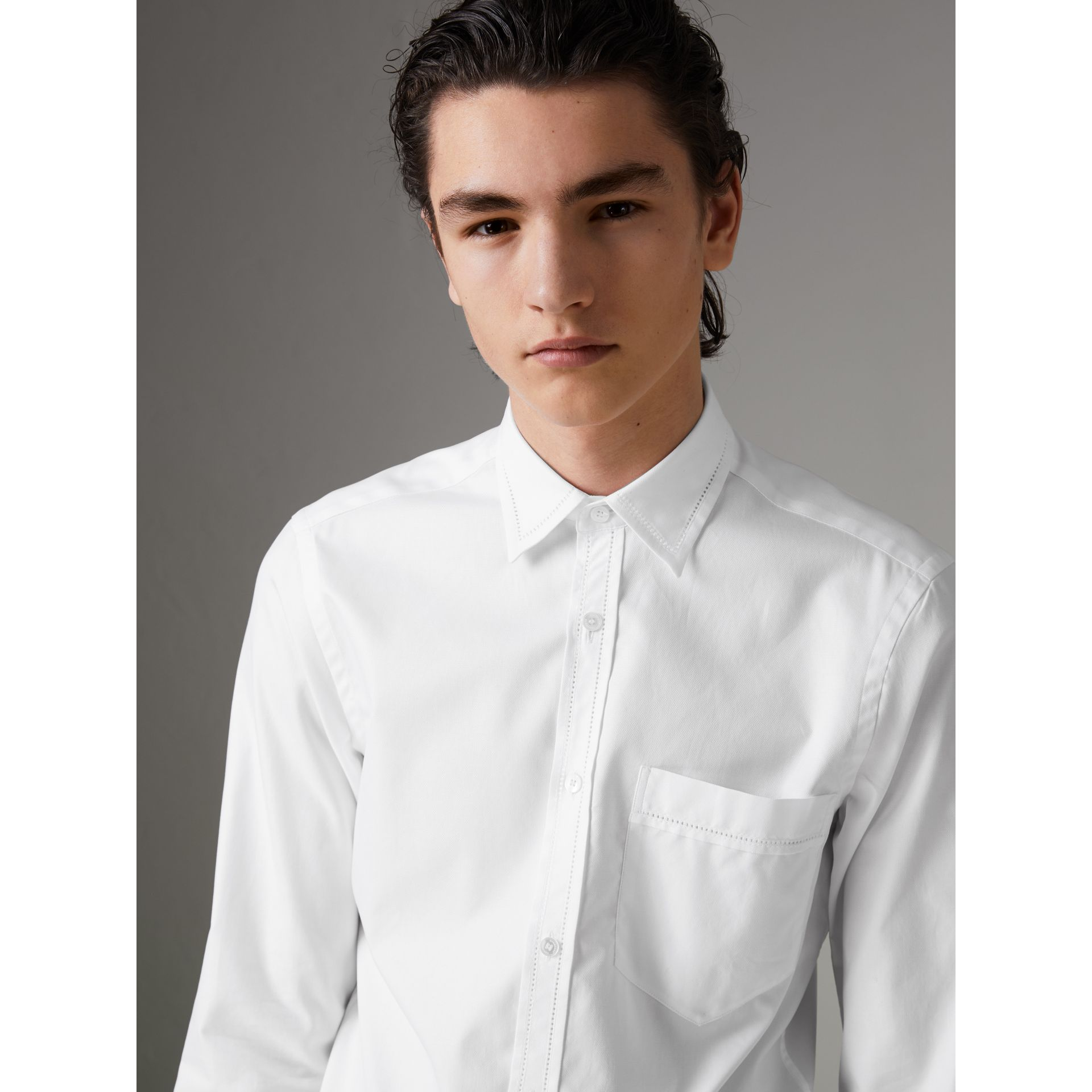 Open-stitch Detail Cotton Oxford Shirt in White - Men | Burberry - gallery image 0