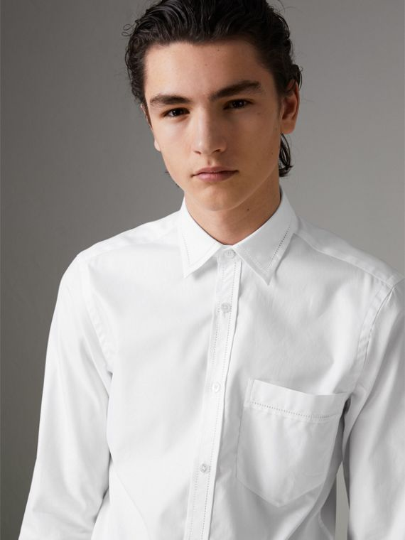 Open-stitch Detail Cotton Oxford Shirt in White