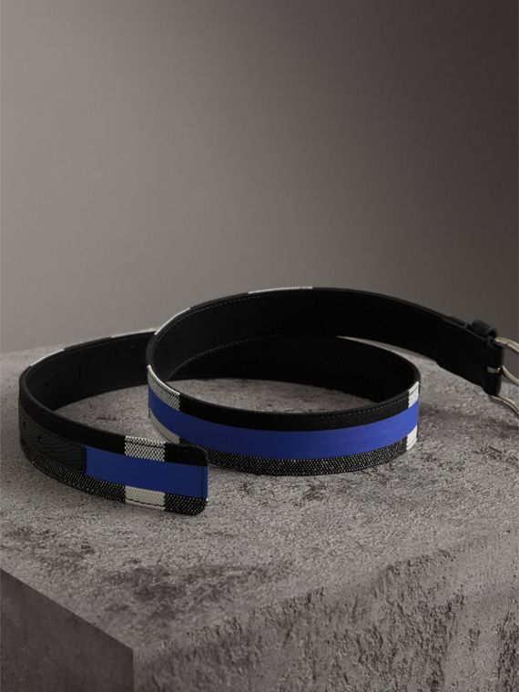 Striped Check Jute Cotton Belt in Blueberry/black - Men | Burberry - cell image 3