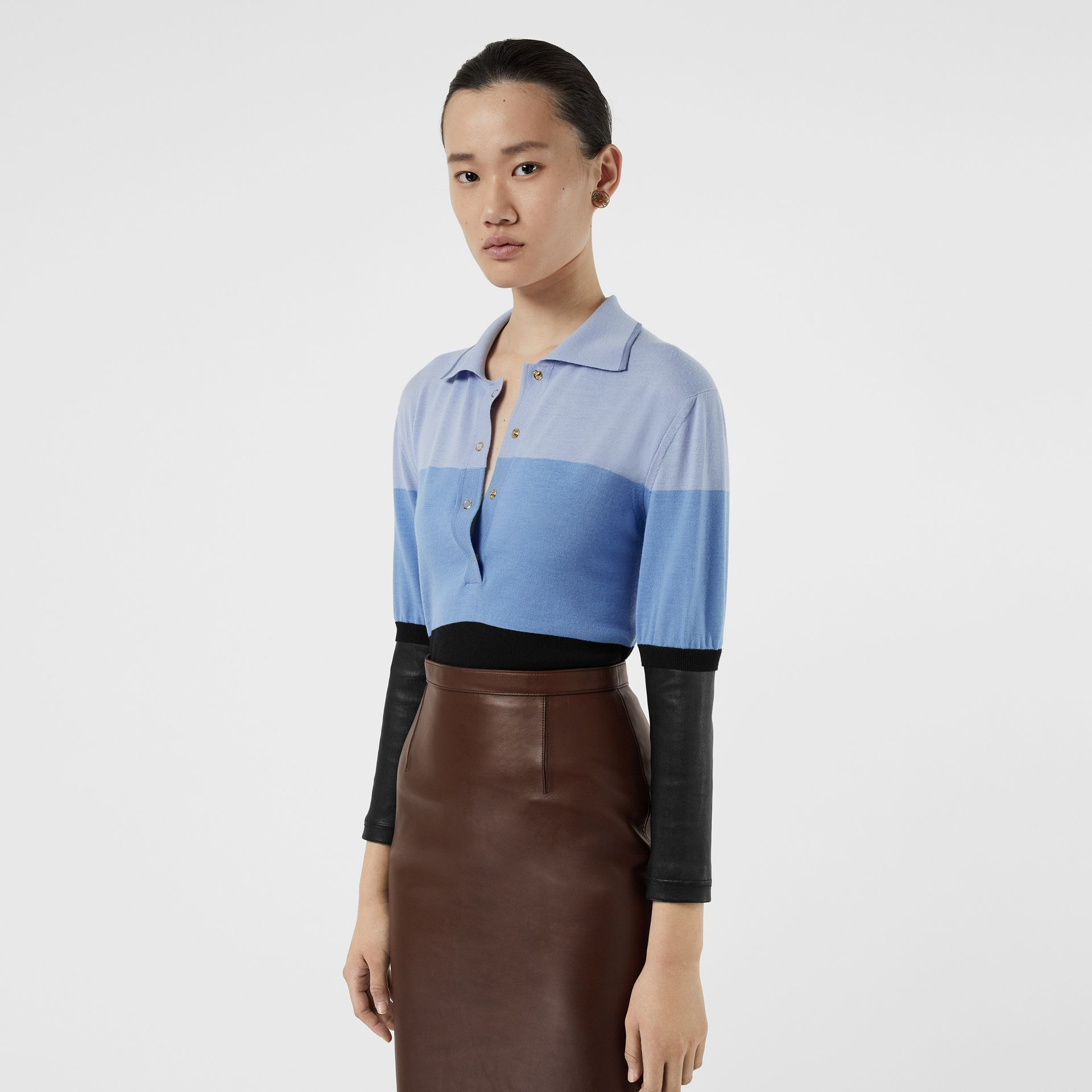 Long-sleeve Lambskin Detail Wool Polo Shirt in Blue - Women | Burberry Hong Kong S.A.R - gallery image 4