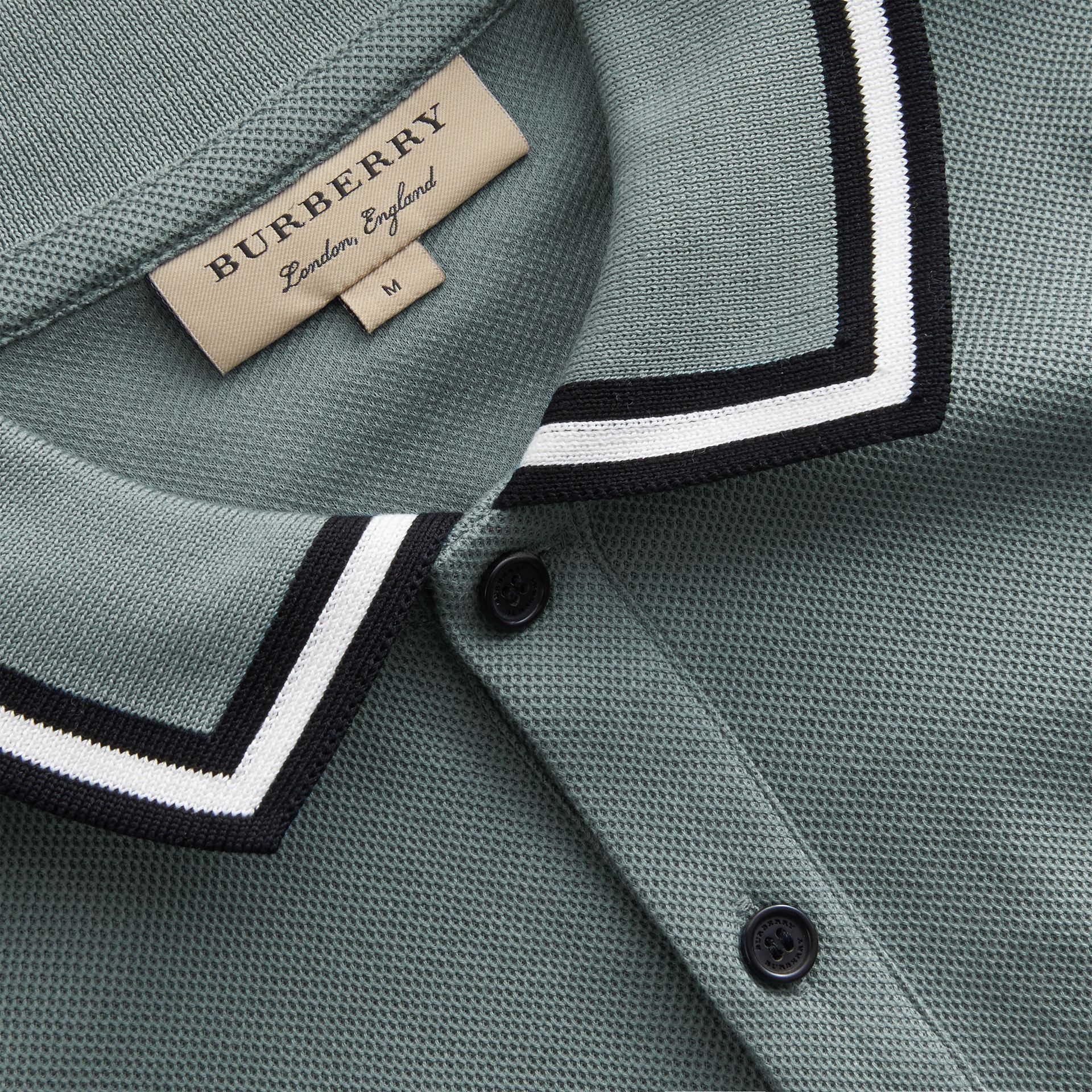 Striped Collar Cotton Piqué Polo Shirt in Pale Teal Blue - Men | Burberry - gallery image 2