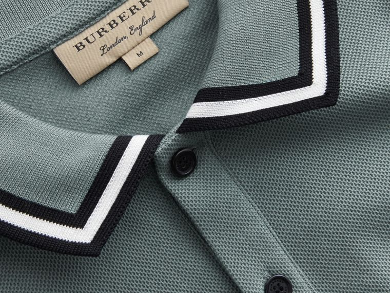 Striped Collar Cotton Piqué Polo Shirt in Pale Teal Blue - Men | Burberry Australia - cell image 1