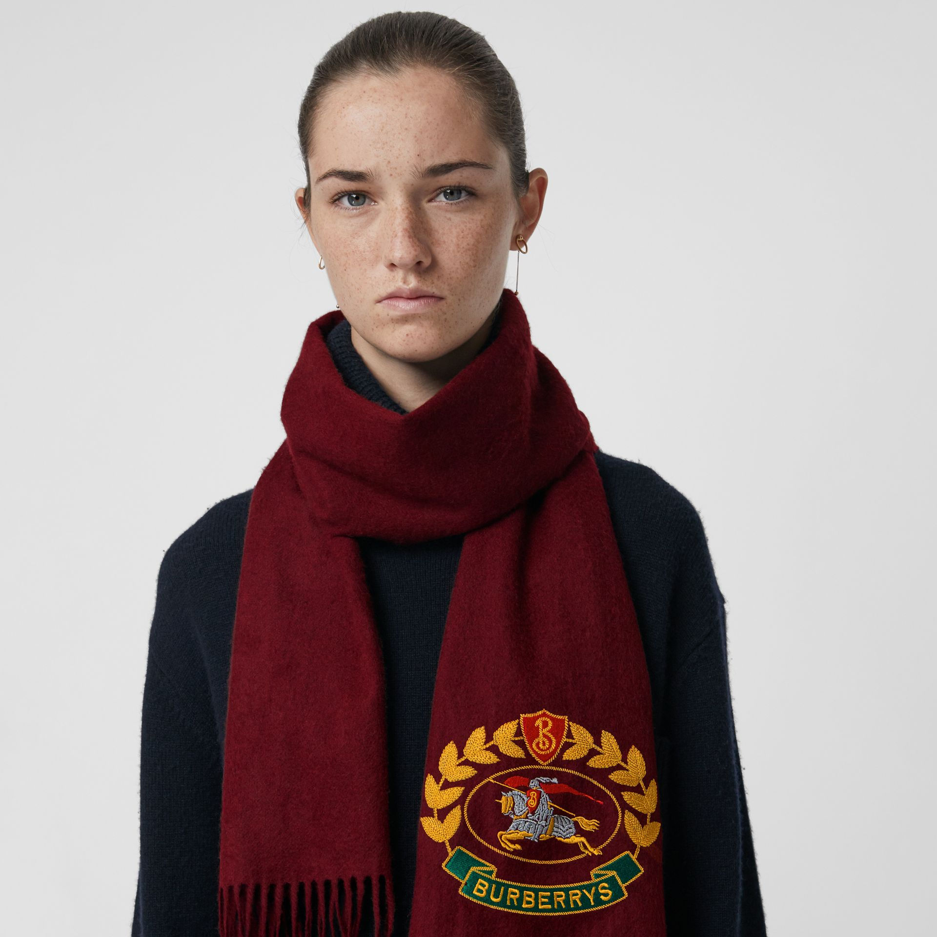 The Classic Cashmere Scarf with Archive Logo in Claret | Burberry United States - gallery image 5