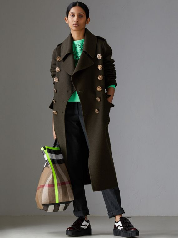 Cappotto militare in cashmere e lana con bottoni decorati (Verde  Scuro)