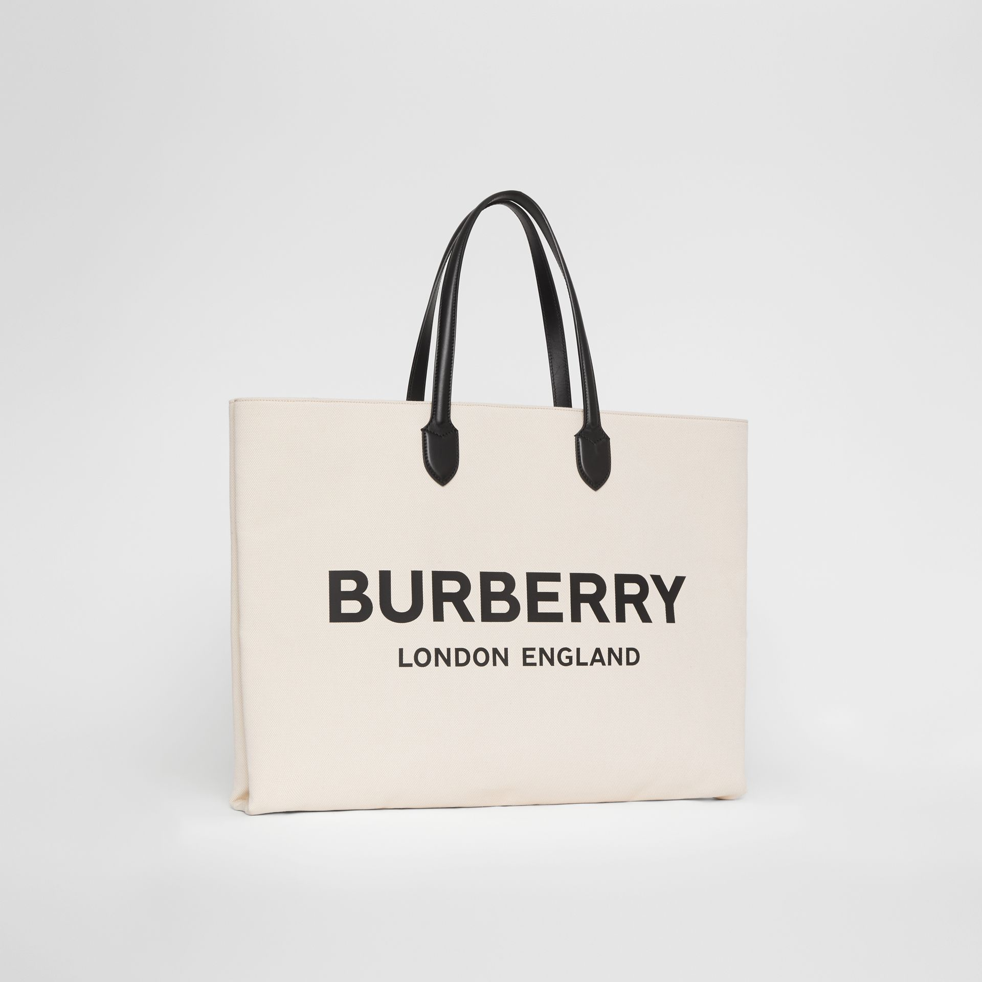 Logo Detail Cotton Blend Tote in Natural | Burberry - gallery image 4