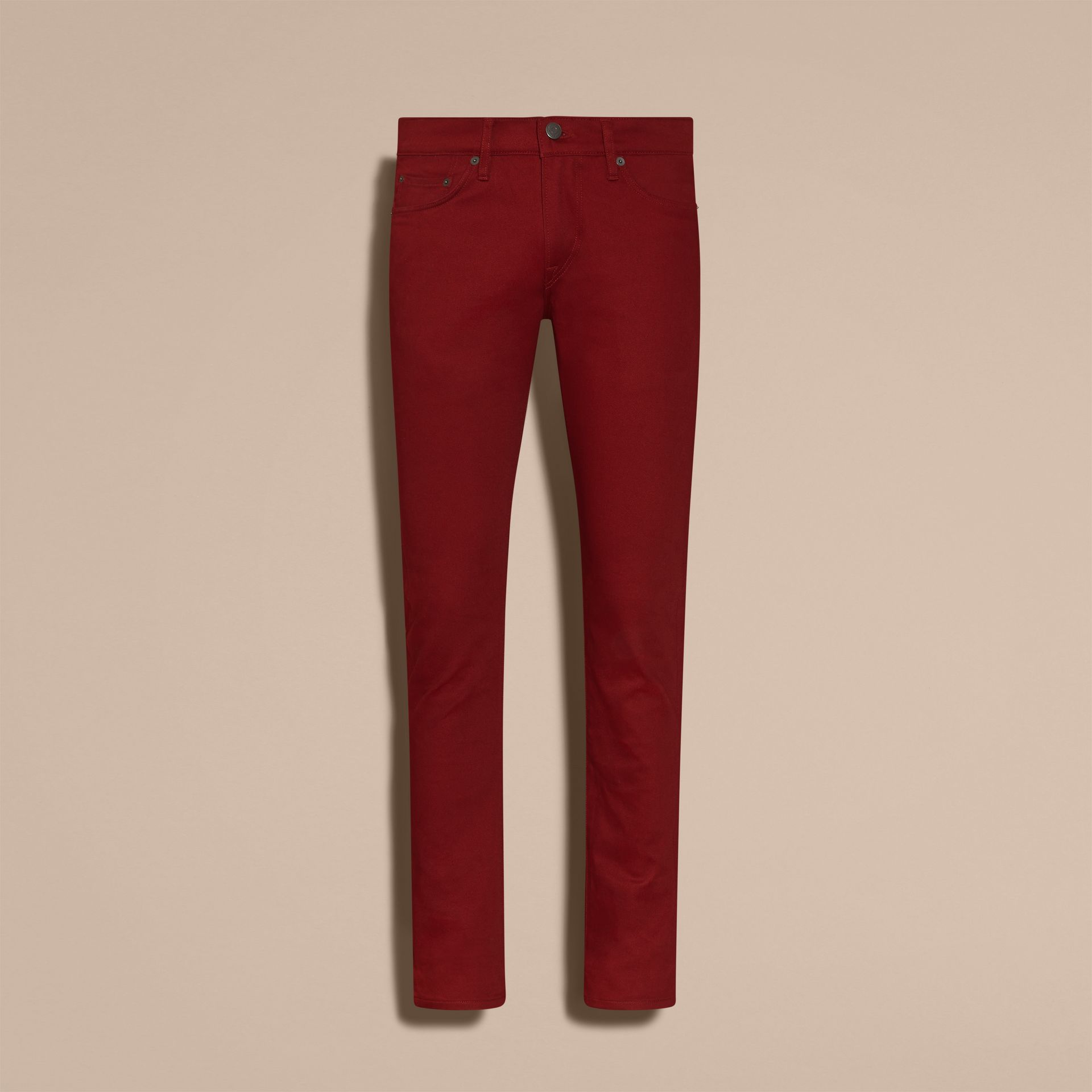 Dark red Slim Fit Japanese Stretch Denim Jeans Dark Red - gallery image 4