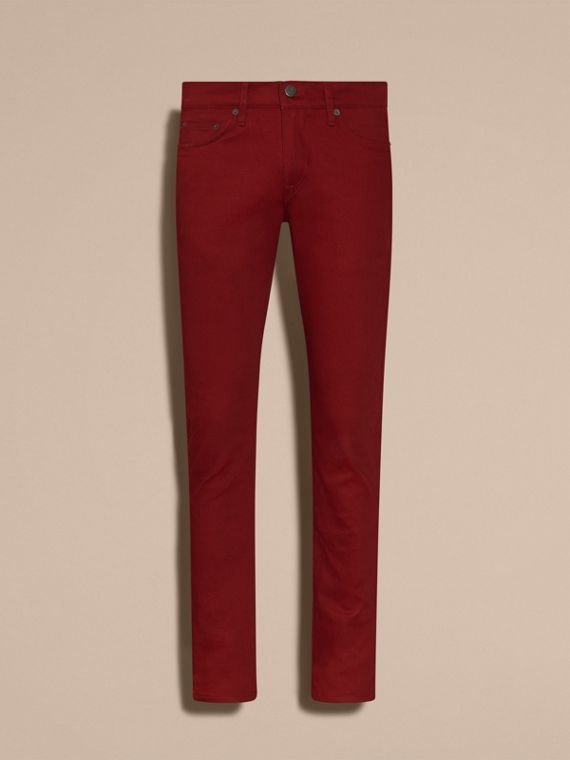 Dark red Slim Fit Japanese Stretch Denim Jeans Dark Red - cell image 3