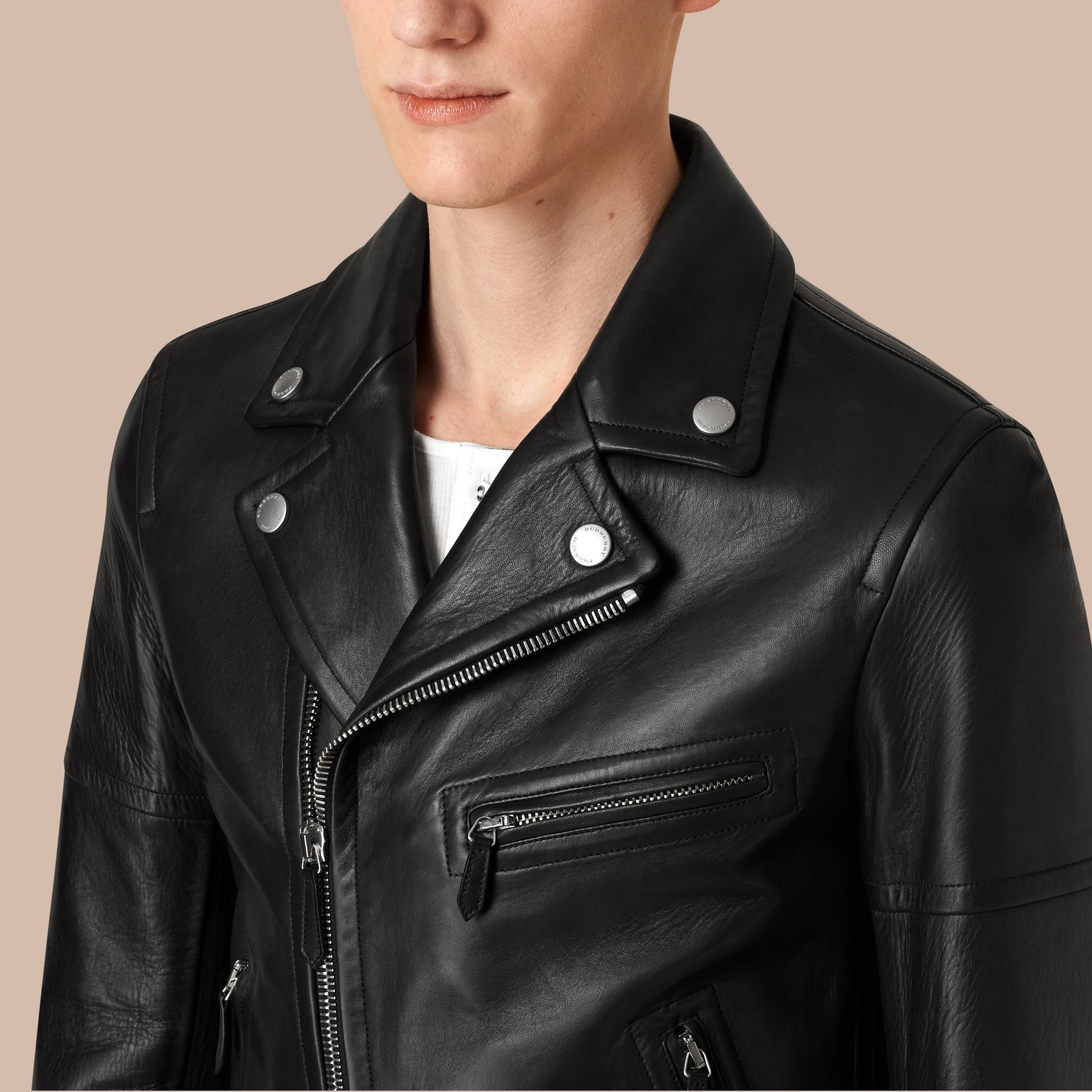 Leather Biker Jacket in Black - Men | Burberry - gallery image 5