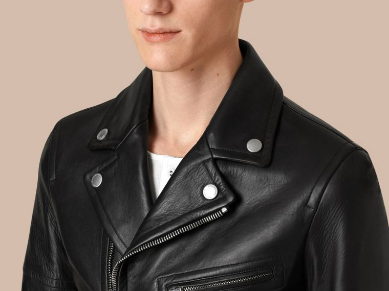 Leather Biker Jacket in Black - Men | Burberry - cell image 4