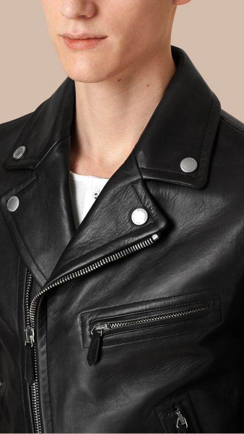 Black Leather Biker Jacket - Image 5