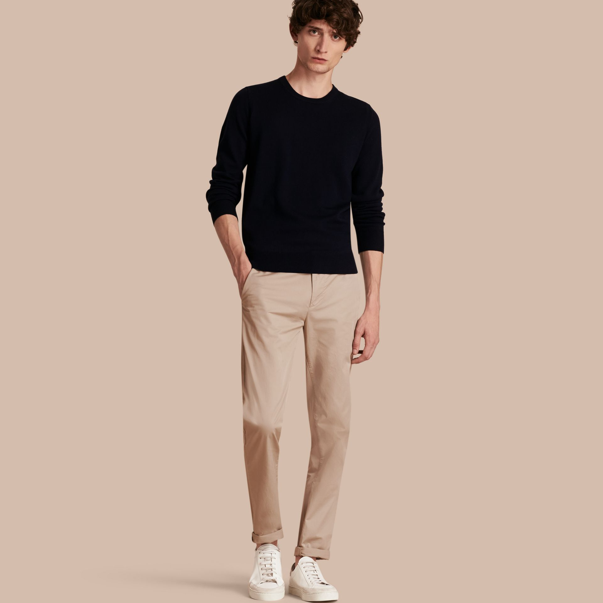 Slim Fit Cotton Chinos in Taupe - Men | Burberry - gallery image 1