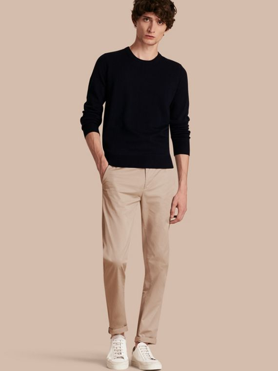 Slim Fit Cotton Chinos in Taupe