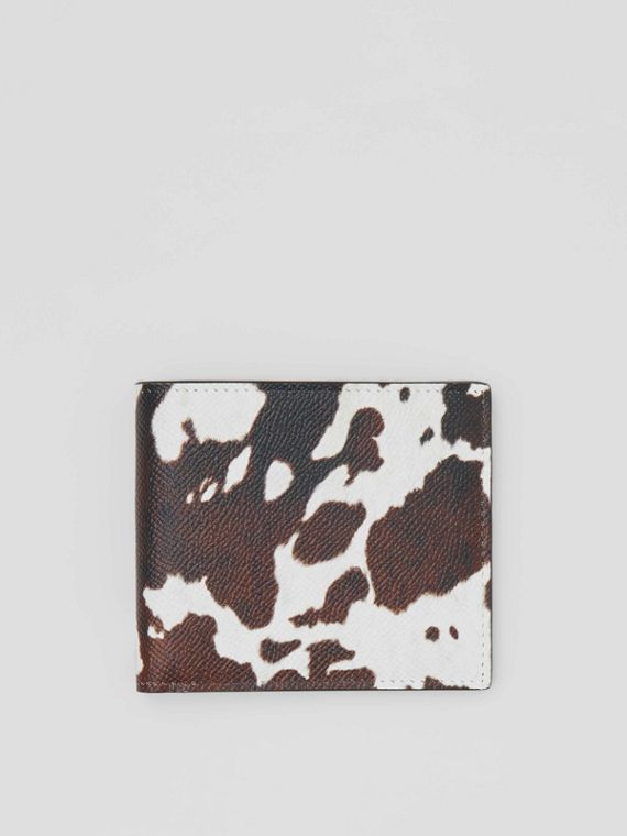 Cow Print Leather International Bifold Wallet in Black/white