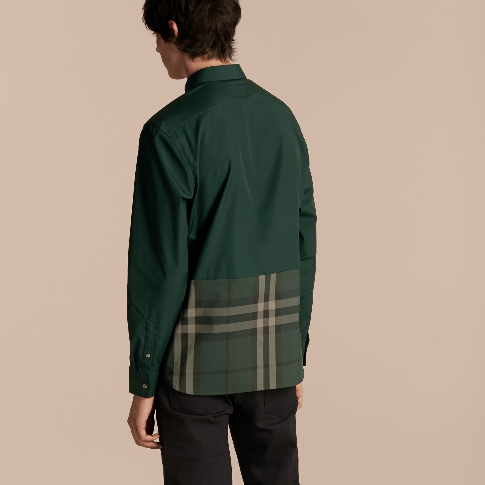 Racing green Check Panel Stretch-Cotton Poplin Shirt Racing Green - gallery image 3