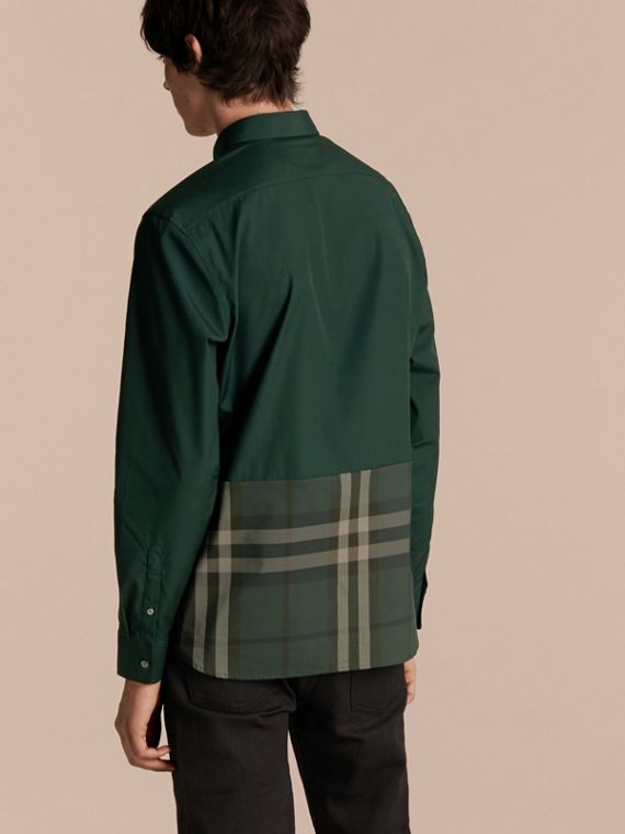 Racing green Check Panel Stretch-Cotton Poplin Shirt Racing Green - cell image 2