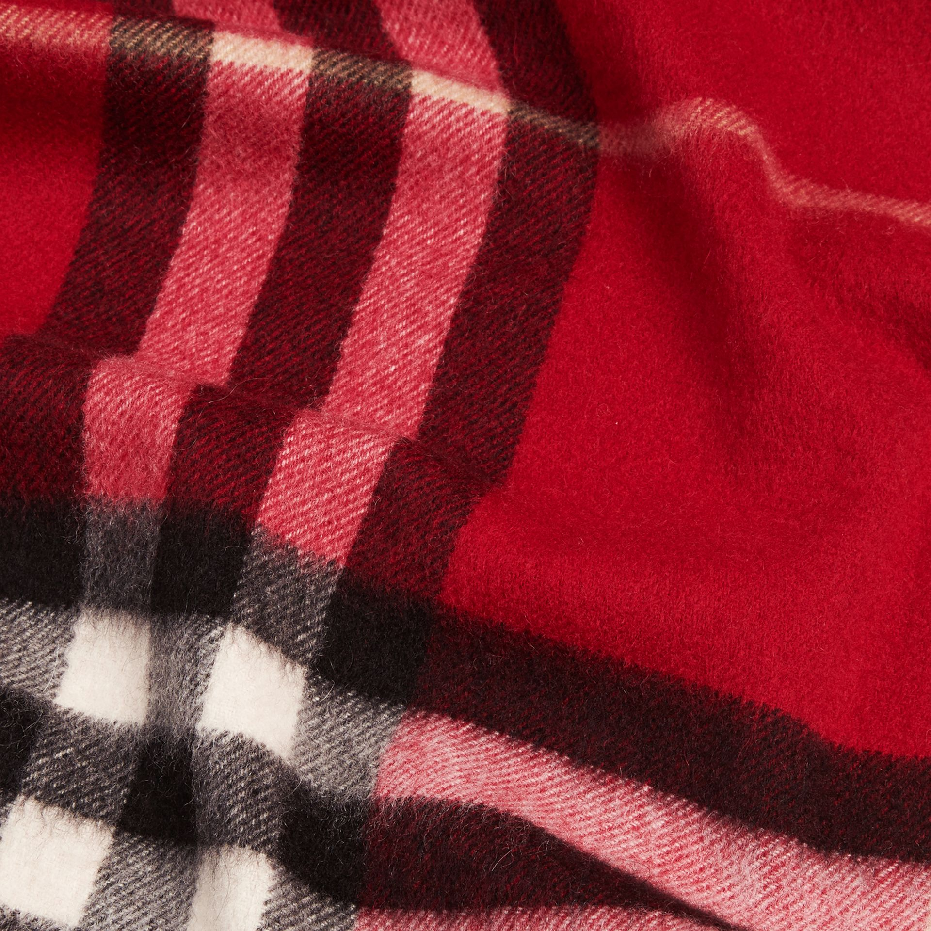 The Classic Cashmere Scarf in Check in Parade Red - gallery image 5