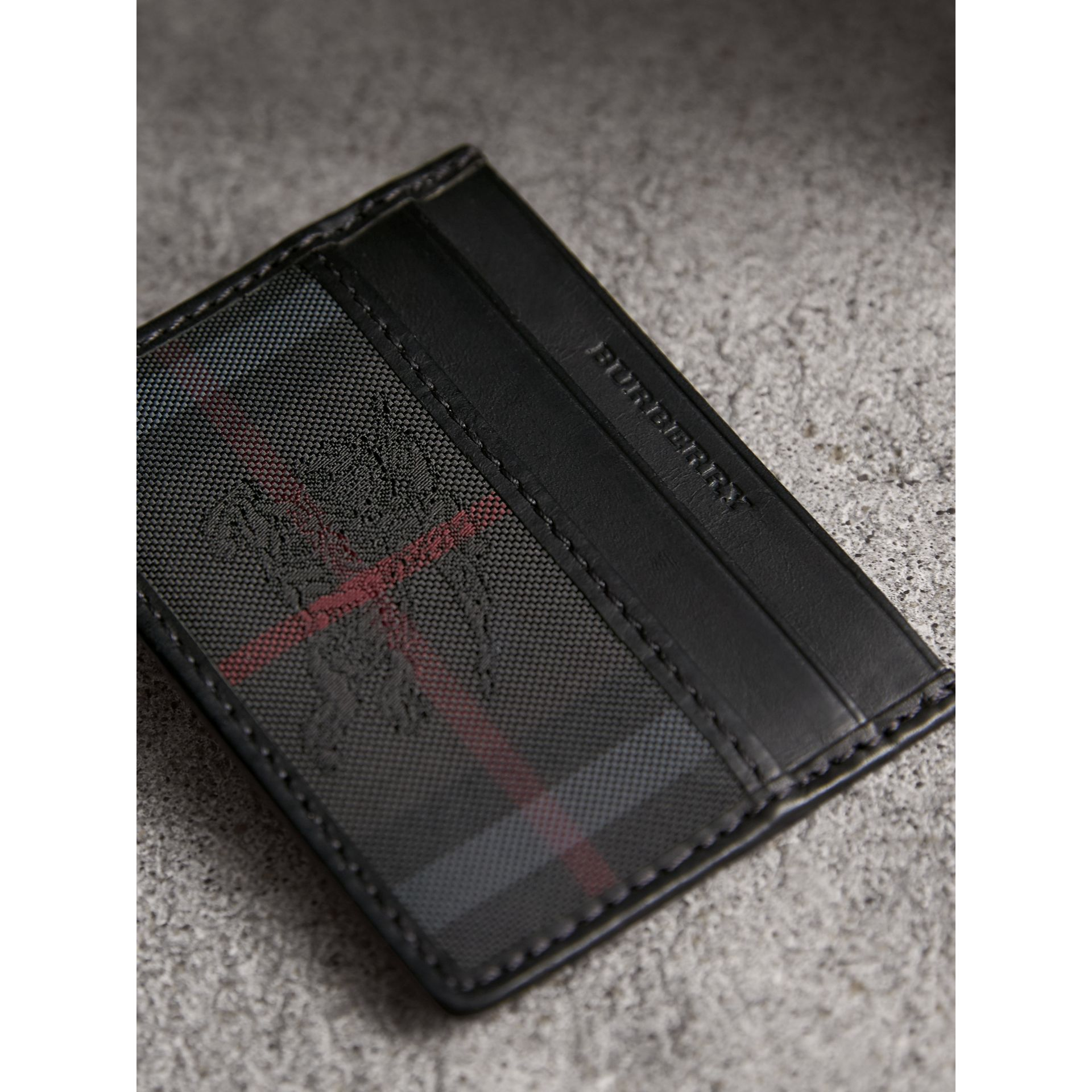Horseferry Check Card Case in Charcoal/black - Men | Burberry Canada - gallery image 2