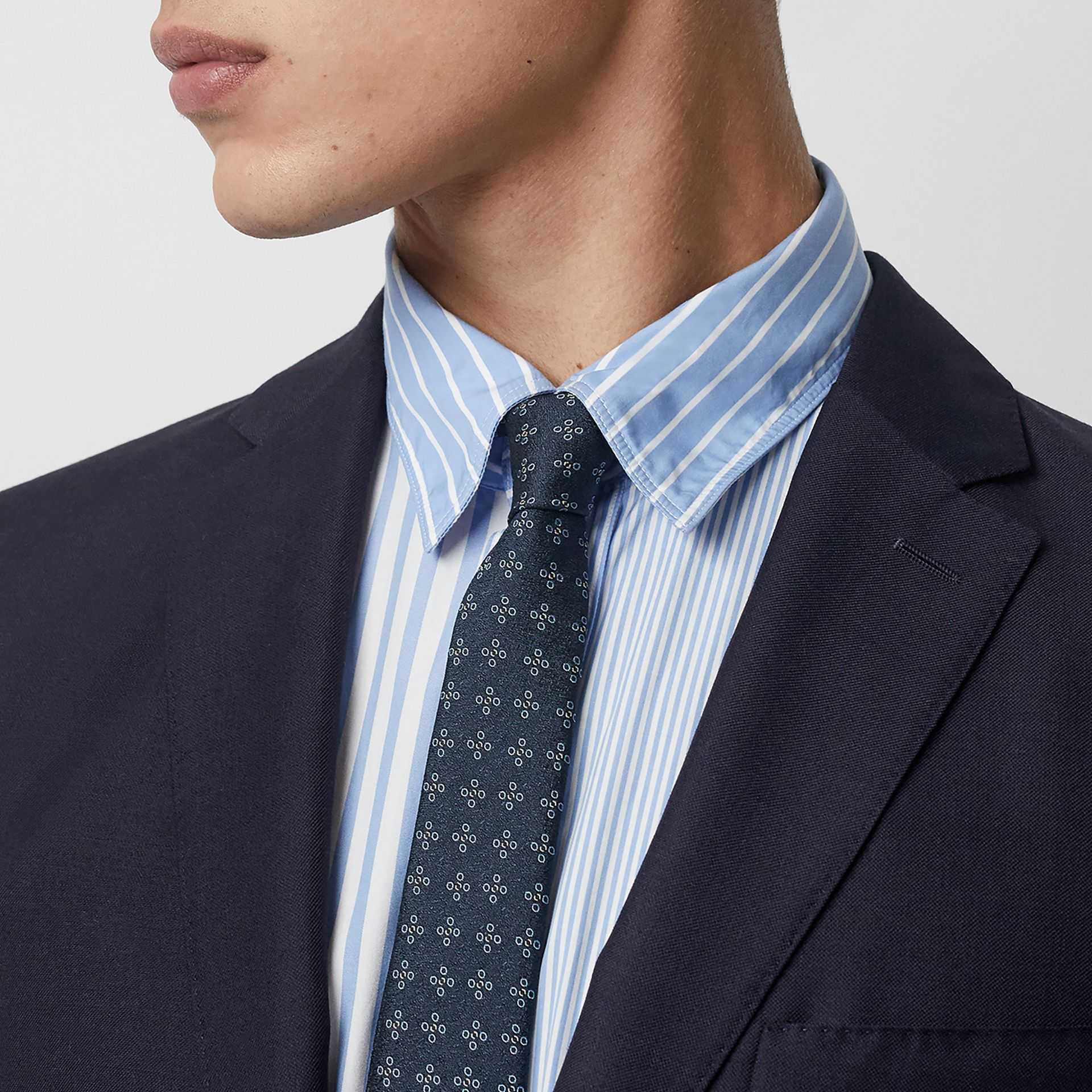 Slim Fit Wool Mohair Silk Suit in Navy - Men | Burberry Canada - gallery image 1