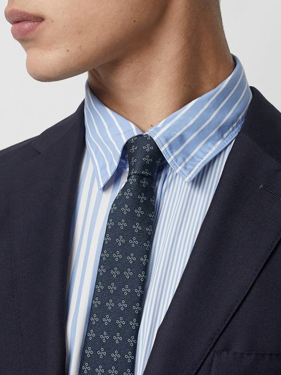 Slim Fit Wool Mohair Silk Suit in Navy - Men | Burberry Canada - cell image 1