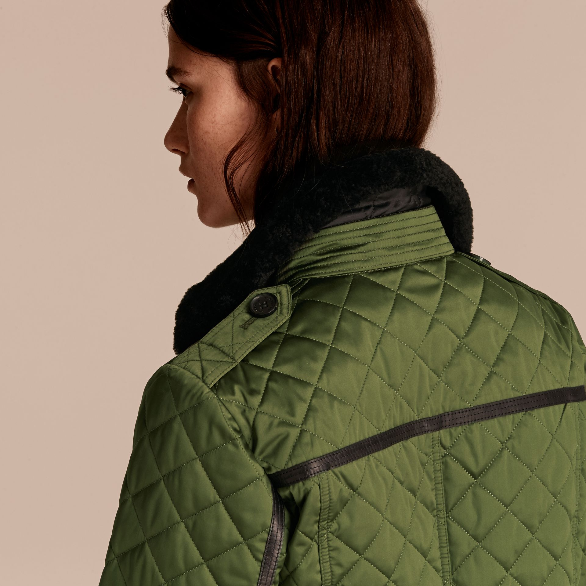 Bright moss green Quilted Jacket with Shearling Collar - gallery image 5