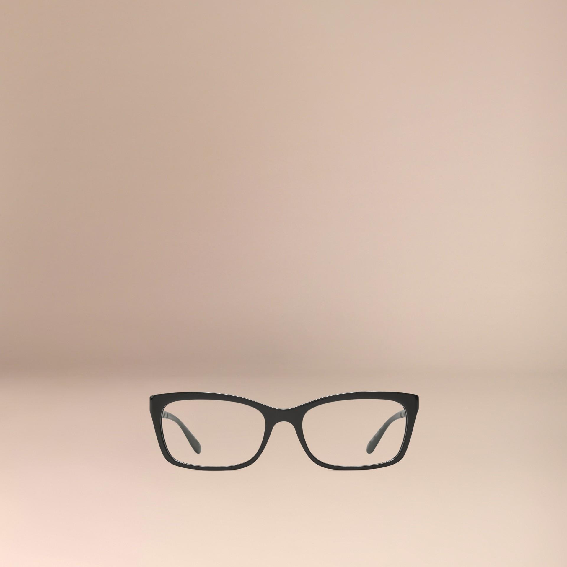 Noir Monture rectangulaire pour lunettes de vue avec détails check Noir - photo de la galerie 3
