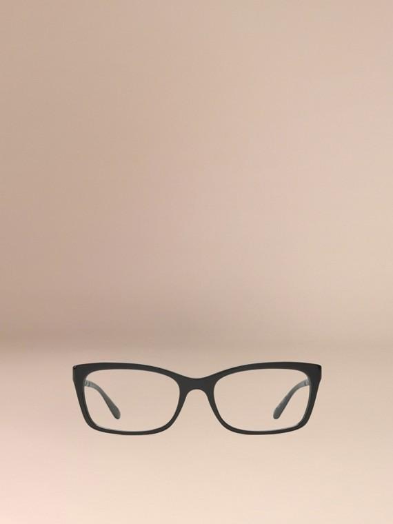 Noir Monture rectangulaire pour lunettes de vue avec détails check Noir - cell image 2