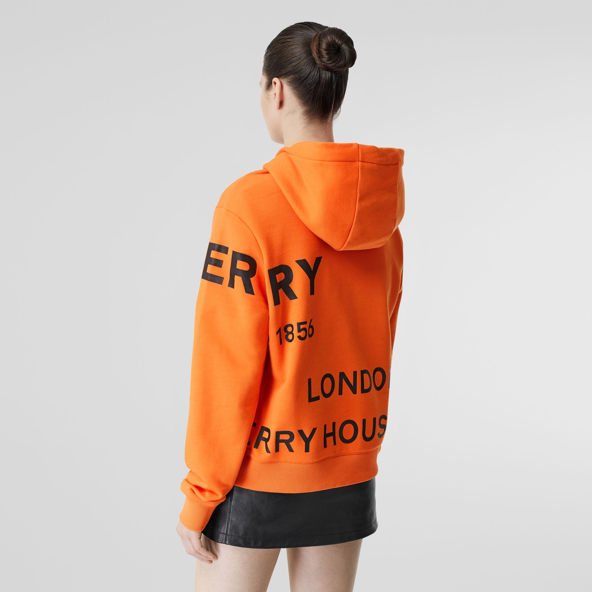 Horseferry Print Cotton Oversized Hoodie in Bright Orange - Women | Burberry - gallery image 2
