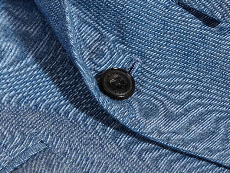 Chambray Cotton Blazer in Stone Blue | Burberry - cell image 1