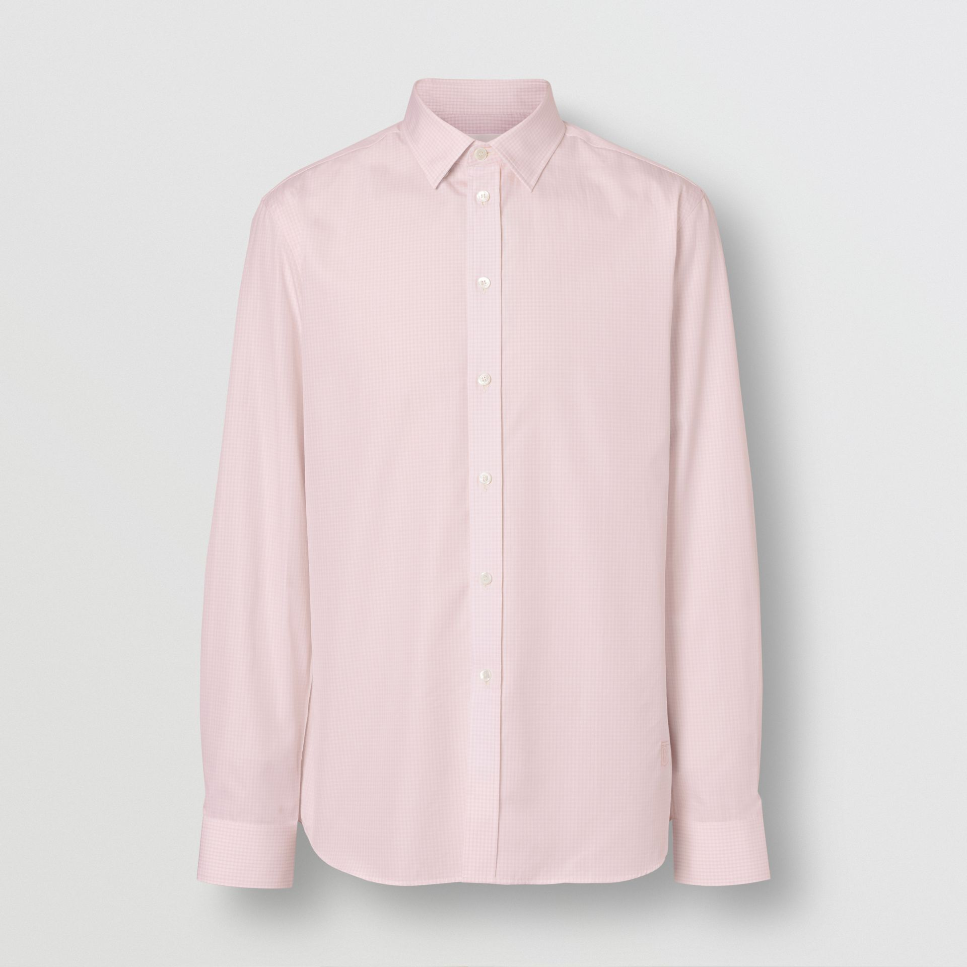 Slim Fit Micro Check Cotton Poplin Shirt in Alabaster Pink - Men | Burberry - gallery image 3