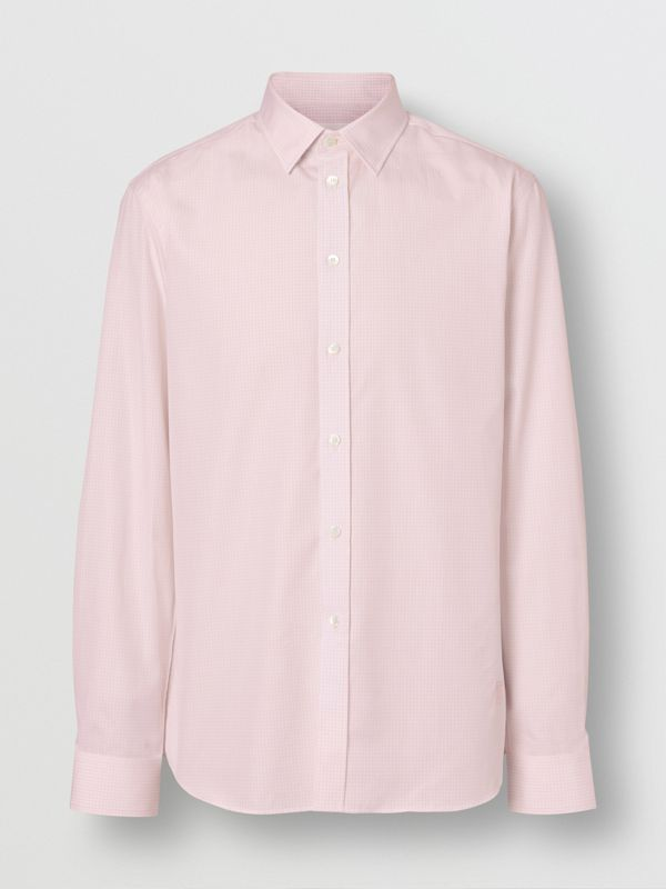 Slim Fit Micro Check Cotton Poplin Shirt in Alabaster Pink - Men | Burberry Australia - cell image 3