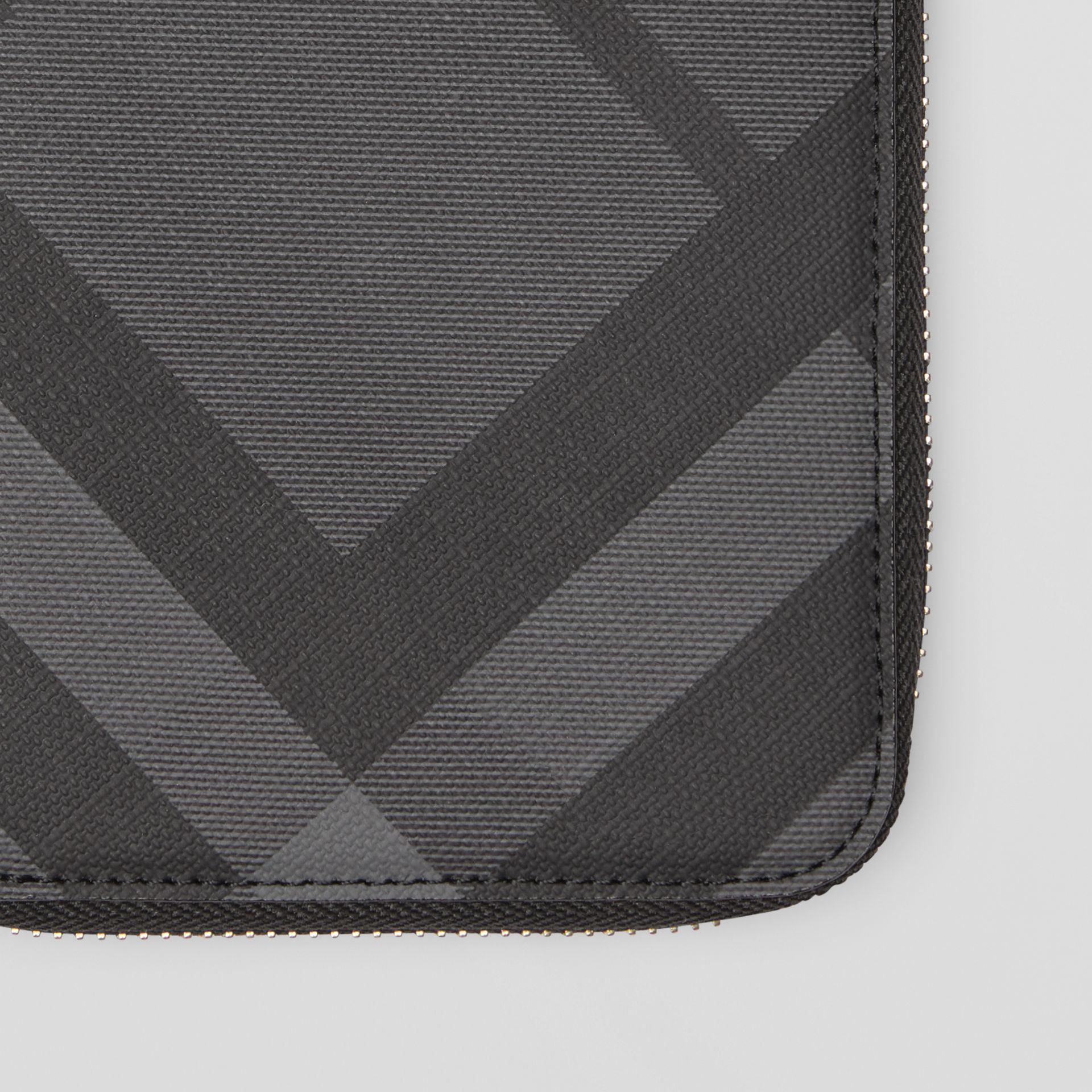 London Check and Leather Ziparound Wallet in Charcoal/black - Men | Burberry - gallery image 1
