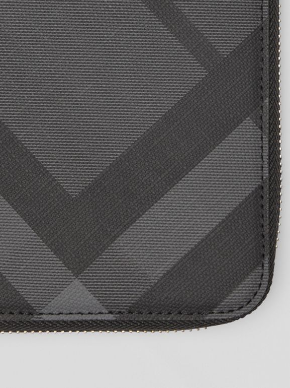 London Check and Leather Ziparound Wallet in Charcoal/black - Men | Burberry - cell image 1