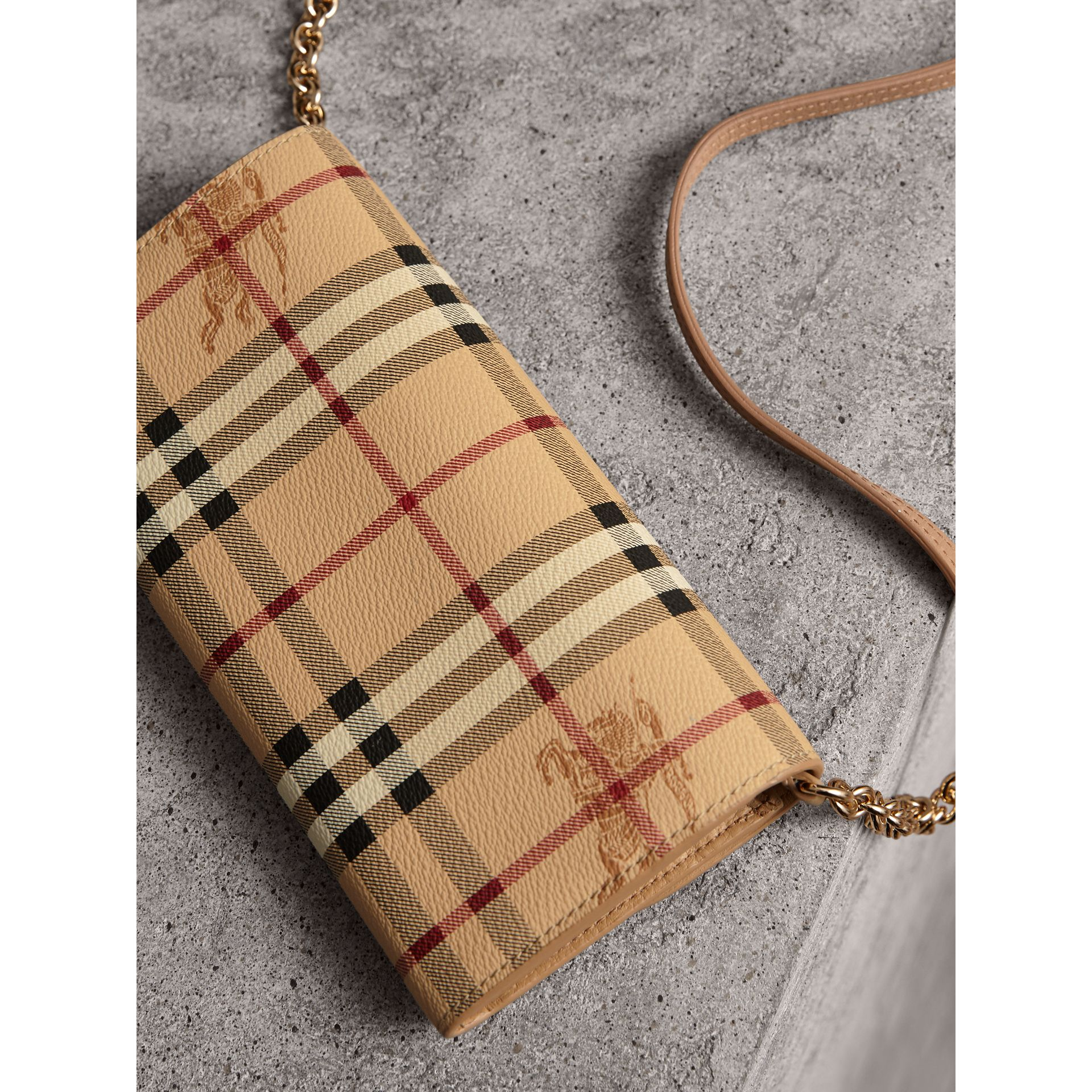 Leather Trim Haymarket Check Wallet with Chain in Mid Camel - Women | Burberry Canada - gallery image 4